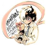 1boy black_hair black_jack_(character) black_jack_(series) chibi doctor gift highres in_palm labcoat looking_at_another male_focus multicolored_hair necktie official_art okuma_yuugo ribbon scar solo striped striped_necktie two-tone_hair white_hair young_black_jack ||_||