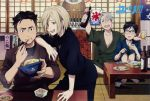 4boys =_= alcohol artist_request beer black_hair blonde_hair blue-framed_eyewear bottle bowl brown_eyes chopsticks copyright_name cup drinking_glass eating food glasses green_eyes grey_eyes japanese_clothes katsudon_(food) katsuki_yuuri male_focus multiple_boys official_art one_eye_closed open_mouth otabek_altin plate silver_hair sitting smile table viktor_nikiforov yuri!!!_on_ice yuri_plisetsky
