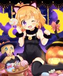 1girl ;d animal_ears asahina_mirai bell bell_earrings black_hairband black_legwear blush bow candy cat_ears cat_tail character_request earrings eyebrows_visible_through_hair fang food hairband jack-o'-lantern jewelry lollipop looking_at_viewer mahou_girls_precure! mofurun_(mahou_girls_precure!) one_eye_closed open_mouth orange_hair precure pumpkin red_bow ringo_(nanaprin) short_hair smile tail tail_bow thigh-highs violet_eyes