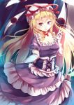 1girl argyle bangs blonde_hair blush bow breasts choker cleavage corset dress elbow_gloves eyes frilled_dress frills gap gloves hair_between_eyes hand_gesture hand_up hat hat_ribbon highres kanzakietc large_breasts long_hair looking_at_viewer mob_cap print_gloves purple_dress red_eyes reflective_eyes ribbon ribbon-trimmed_headwear ribbon_trim shiny shiny_hair short_sleeves solo tongue tongue_out touhou violet_eyes white_gloves yakumo_yukari