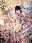 10s 1girl ace_of_clubs akemi_homura artist_name bai_qi-qsr black_hair black_hairband book card closed_mouth dress english fish flying_paper frilled_dress frills globe goldfish hairband highres holding_paintbrush light_smile long_hair looking_at_viewer mahou_shoujo_madoka_magica open_book paintbrush palette paper plant playing_card puffy_short_sleeves puffy_sleeves short_sleeves shrimp solo very_long_hair vines violet_eyes water_drop white_dress