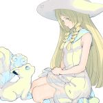 1girl alola_form alolan_vulpix blonde_hair braid dress from_side green_eyes hat lillie_(pokemon) long_hair muted_color pokemon pokemon_(creature) pokemon_(game) pokemon_sm pokemon_sm_(anime) simple_background sitting sleeveless sleeveless_dress sun_hat twin_braids white_background white_dress white_hat zakki