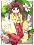 1girl blush brown_eyes brown_hair erika_(pokemon) gym_leader hairband japanese_clothes kimono open_mouth pokemon pokemon_(game) pokemon_frlg short_hair smile solo yucopi