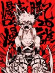 1boy angry bakugou_katsuki boku_no_hero_academia collarbone domino_mask elbow_gloves explosive gloves grenade ikapnmn2 mask monochrome muscle open_mouth red_background spiky_hair tank_top teeth text