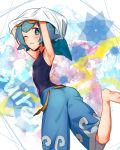 1girl arms_up barefoot blue_eyes blue_hair character_name goggles goggles_on_head kanimaru looking_at_viewer one_eye_closed pokemon pokemon_(game) pokemon_sm school_swimsuit short_hair shorts standing standing_on_one_leg suiren_(pokemon) swimsuit