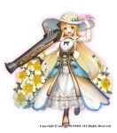 1girl :d black_bow blonde_hair boots bow detached_sleeves dress flower flower_knight_girl full_body gun happy hat limnanthes_(flower_knight_girl) long_hair looking_at_viewer nakaishow object_namesake official_art open_mouth orange_eyes see-through smile solo standing weapon white_background white_dress