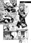 1boy 2girls admiral_(kantai_collection) alternate_costume breasts cleavage comic commentary_request hand_on_hip houshou_(kantai_collection) image_in_sky imu_sanjo japanese_clothes kantai_collection kimono long_hair medium_breasts multiple_girls naganami_(kantai_collection) obi open_mouth sash smile table_tennis thumbs_up translation_request