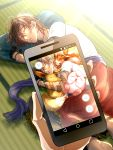 1boy black_gloves brown_hair cellphone closed_eyes crossover dark_skin dark_skinned_male eevee gloves highres jigglypuff lying male_focus on_side ookurikara phone pillow pokemon pokemon_(creature) pokemon_go pov pov_hands sleeping smartphone touken_ranbu tsubakiya vulpix
