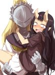 2girls armor black_hair blonde_hair blush carrying constricted_pupils crying crying_with_eyes_open gazacy_(dai) highres hood hoodie horns kiko_(oddman_11) long_hair multiple_girls oddman_11 oni_horns open_mouth pointy_ears ponytail princess_carry school_uniform serafuku shizuhata_chouko skirt tears violet_eyes white_background