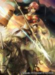 1girl arm_guards armor belt blue_eyes breastplate cape company_connection copyright_name elbow_gloves fire_emblem fire_emblem:_akatsuki_no_megami fire_emblem:_souen_no_kiseki fire_emblem_cipher gloves holding holding_weapon horse horseback_riding official_art pauldrons pegasus pegasus_knight pink_hair polearm riding serious short_hair spear sunset thigh-highs wadadot_lv weapon wings
