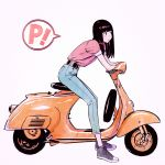 1girl black_eyes black_hair flcl ground_vehicle ilya_kuvshinov long_hair motor_vehicle scooter simple_background solo vespa