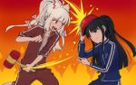 2girls bangs black_hair blue_clothes blunt_bangs bow brown_eyes clenched_hand collarbone fiery_background fire fujiwara_no_mokou hair_bow houraisan_kaguya long_hair long_sleeves mallet meitei multi-tied_hair multiple_girls open_mouth ponytail red_clothes red_eyes rock_paper_scissors sidelocks sleeves_pushed_up touhou track_suit white_hair