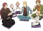 6+boys blonde_hair brown_eyes brown_hair cup gotou_toushirou hair_ornament hairclip hakama highres houchou_toushirou indian_style japanese_clothes male_focus miwa_shirou monoyoshi_sadamune multiple_boys otegine ponytail redhead sakazuki seiza shorts sitting smile sohaya-no-tsurugi tonbokiri_(touken_ranbu) touken_ranbu track_suit yellow_eyes