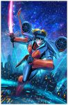 1girl autobot blue_eyes breasts building cityscape cybertron energy energy_sword fan flying geisha glowing glowing_eyes jumping lights lips makeup mecha realistic redesign robot science_fiction serious signature sky star_(sky) starry_sky sword transformers transformers_prime valzonline watermark weapon windblade