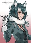 1girl animal_ears bangs black_necktie blue_eyes breasts coat english fangs gloves grey_hair grey_wolf_(kemono_friends) heterochromia highres kemono_friends long_hair long_sleeves looking_at_viewer medium_breasts multicolored_hair necktie open_mouth osakana_(denpa_yun'yun) pen smile solo tail teeth text two-tone_hair upper_body white_gloves white_hair wolf_ears wolf_girl wolf_tail yellow_eyes