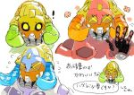 ! >_< 1girl ^_^ asunekun closed_eyes commentary_request expressions flower flying_sweatdrops green_eyes horns motion_lines multiple_views orisa_(overwatch) overwatch robot simple_background solid_eyes solo speech_bubble surprised text translation_request upper_body waving white_background