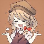 >:d 1girl :d =3 alternate_headwear blonde_hair blush_stickers bow braid cabbie_hat collared_shirt hair_bow hat heart iiha_toobu kirisame_marisa medium_hair muted_color open_mouth puffy_short_sleeves puffy_sleeves shirt short_sleeves shrug single_braid smile smug solo touhou vest