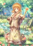 1girl bangs bow bowtie brown_eyes brown_hair capelet company_connection copyright_name dress eyebrows_visible_through_hair fire_emblem fire_emblem:_seisen_no_keifu fire_emblem_cipher flower forest hand_on_own_chest highres holding holding_staff lake lana_(fire_emblem) looking_at_viewer naka_(2133455) nature official_art outdoors petals short_hair short_sleeves smile solo sparkle staff