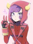 1girl black_gloves bracer dated dotted_background gloves highres hood kagari_(pokemon) kagari_(pokemon)_(remake) looking_at_viewer milk_(4chan) milka_(milk4ppl) pokemon pokemon_(game) pokemon_oras purple_hair ribbed_sweater solo sweater upper_body v violet_eyes
