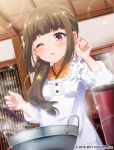 1girl alternate_hairstyle apron battle_girl_high_school blush brown_hair chef_uniform eyebrows eyebrows_visible_through_hair fujimiya_sakura japanese_clothes kappougi kitchen long_hair official_art one_eye_closed open_mouth pot solo sweatdrop thick_eyebrows