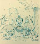 aki_minoriko animal arinu bear bird boar commentary deer food forest fox fruit hat monkey nature short_hair sitting skirt smile squirrel tanuki touhou tree tree_stump