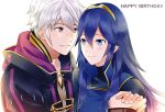 1boy 1girl blue_eyes blue_hair blush cape couple fire_emblem fire_emblem:_kakusei hetero long_hair looking_at_another lucina male_my_unit_(fire_emblem:_kakusei) mejiro my_unit_(fire_emblem:_kakusei) short_hair simple_background smile solo tiara white_background