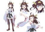 ahoge bare_shoulders blue_eyes boots brown_hair character_sheet detached_sleeves double_bun hair_ornament hairband headgear japanese_clothes kantai_collection kongou_(kantai_collection) little_witch_academia little_witch_academia_(parody) nontraditional_miko open_mouth parody ribbon-trimmed_sleeves ribbon_trim skirt style_parody thigh-highs thigh_boots yuzuruka_(bougainvillea) zettai_ryouiki
