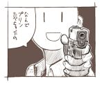 :d aiming_at_viewer ambiguous_gender border face genso glock gun handgun holding holding_gun holding_weapon looking_at_viewer monochrome open_mouth original smile solo weapon wing_collar |_|