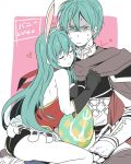 1boy 1girl animal_ears aqua_eyes aqua_hair armor ass backless_outfit bare_shoulders black_gloves blush breasts brother_and_sister bunny_girl cape closed_eyes cuddling easter easter_egg eirika ephraim fire_emblem fire_emblem:_seima_no_kouseki fire_emblem:_souen_no_kiseki fire_emblem_heroes gloves heart ijiro_suika leotard long_hair medium_breasts rabbit_ears short_hair siblings sitting sketch smile sweatdrop