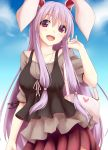 1girl :d alternate_costume animal_ears bag blouse bunny_head contemporary handbag kue long_hair looking_at_viewer open_mouth purple_hair rabbit_ears red_eyes reisen_udongein_inaba ribbon skirt smile solo touhou very_long_hair