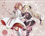 2girls black_bow boots bow cape capelet drill_hair elise_(fire_emblem_if) fire_emblem fire_emblem_if hair_bow hair_ornament headband hiyori_(rindou66) interlocked_fingers long_hair looking_at_viewer multiple_girls open_mouth pink_eyes redhead sakura_(fire_emblem_if) short_hair sidelocks skirt smile thigh-highs thigh_boots twin_drills twintails very_long_hair violet_eyes white_legwear zettai_ryouiki