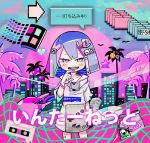 1girl arrow blue_sky cassette_tape cd cowboy_shot dolphin emoticon folder game_console heart hooded_dress logo milk original palm_tree playstation sky skyline smile speech_bubble statue sunset tera text tree vaporwave windows