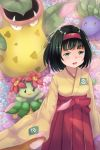 1girl bellossom black_hair blush breasts erika_(pokemon) green_eyes gym_leader hairband highres japanese_clothes kimono medium_breasts momiji_manjuu_(usagiblackmore) oddish open_mouth pokemon pokemon_(game) pokemon_frlg short_hair solo victreebel