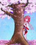 1girl behind_tree capelet cherry_blossoms elbow_gloves fingerless_gloves fire_emblem fire_emblem_if flower gloves hair_flower hair_ornament hairband highres japanese_clothes kimono leaning looking_at_viewer nontraditional_miko obi open_mouth pink_eyes pink_hair ribbon sakura_(fire_emblem_if) sash short_hair smile solo standing thigh-highs tyotto_ko_i white_gloves white_legwear