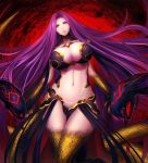 1girl belly breasts cleavage curvy fate/grand_order fate_(series) gorgon_(fate) highres large_breasts long_hair looking_at_viewer midriff minami_koyogi navel parted_lips pink_eyes purple_hair rider scales snake solo very_long_hair wide_sleeves