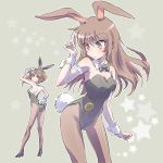 2girls alternate_costume animal_ears arm_garter ass blush bow bowtie breasts brown_eyes brown_hair bunny_tail bunnysuit cleavage coco_adel collar commentary_request from_behind hand_on_hip high_heels highres iesupa long_hair looking_back multiple_girls pantyhose rabbit_ears rwby short_hair sideboob small_breasts sunglasses tail velvet_scarlatina wrist_cuffs