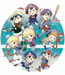 black_hair blonde_hair blue_eyes blush bow_(weapon) chibi gloves hat highres link looking_at_viewer lucas male_focus mother_(game) mother_2 mother_3 multiple_boys myuu1995 ness open_mouth smile super_smash_bros. the_legend_of_zelda the_legend_of_zelda:_the_wind_waker toon_link weapon