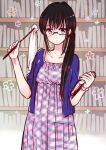 1girl black_hair blouse blue_blouse blush book breasts collarbone dress duster expressionless glasses himawari-san himawari-san_(character) holding holding_book indoors library long_hair looking_at_viewer open_clothes plaid plaid_dress ponytail small_breasts solo standing sugano_manami violet_eyes w_arms watch watch