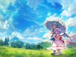 2girls apron bat_wings bird blue_eyes blue_sky bobby_socks bow braid clouds day dirt_road dress fairy grass hair_bow hat highres izayoi_sakuya lake maid maid_headdress matsuda_(matsukichi) mountain multiple_girls outdoors pink_dress puffy_short_sleeves puffy_sleeves purple_hair red_eyes remilia_scarlet scarlet_devil_mansion scenery shoes short_hair short_sleeves silver_hair sky smile socks touhou tree twin_braids umbrella waist_apron white_legwear wings