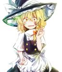 1girl apron blonde_hair blush braid bruise bruise_on_face commentary d: eyes hat highres injury kirisame_marisa looking_at_viewer narrowed_eyes open_mouth scared short_hair single_braid skirt skirt_set solo sweat tigern touhou turtleneck vest waist_apron wavy_hair wide-eyed witch_hat yellow_eyes