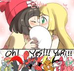 >_< 2girls :d alola_form alolan_raichu beanie blonde_hair blue_eyes blush brown_hair closed_eyes commentary_request covering_eyes covering_mouth drooling english eromame female_protagonist_(pokemon_sm) fist_pump green_eyes hands_clasped hat heart hime_cut implied_kiss incineroar kommo-o lillie_(pokemon) long_hair lurantis lycanroc mizuki_(pokemon_sm) multiple_girls onomatopoeia open_mouth orchid_mantis pokemon pokemon_(creature) pokemon_(game) pokemon_sm praying_mantis raichu short_hair smile surprised toucannon xd yuri