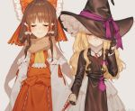 2girls bangs bare_shoulders black_gloves blonde_hair blunt_bangs blush bow brown_hair closed_eyes detached_sleeves embarrassed frown gloves hair_bow hair_tubes hajin hakurei_reimu hand_holding hat hat_over_one_eye hat_ribbon hat_tug kirisame_marisa large_bow long_hair messy_hair multiple_girls petticoat pouch ribbon scarf skirt smile smug touhou trench_coat turtleneck wavy_hair witch_hat yuri