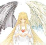 1girl angel angel_and_devil angel_wings asymmetrical_wings blonde_hair change_of_heart closed_eyes demon demon_wings duel_monster erementa highres solo wings yu-gi-oh! yuu-gi-ou_duel_monsters