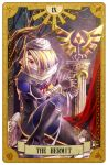 1girl androgynous bandage blonde_hair braid card_(medium) carrying hat long_hair mask pointy_ears red_eyes reverse_trap sheik solo surcoat suzumiya_misa tarot the_legend_of_zelda the_legend_of_zelda:_ocarina_of_time the_legend_of_zelda:_twilight_princess