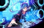 1girl blue_eyes blue_hair breasts dj headphones holographic_interface holographic_monitor jewelry listening_to_music long_hair medium_breasts nail_polish neon_trim original phonograph ponytail pot-palm ring smile solo speaker turntable very_long_hair