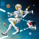 1girl azusa_tanaka bear blonde_hair blue_eyes energy_gun helmet mask original pilot pilot_suit ray_gun space spacesuit ufo weapon