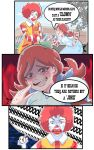 1boy 1girl absurdres braid comic crossover facepaint freckles highres mcdonald's redhead ronald_mcdonald smile striped twin_braids twintails wendy's wendy_(wendy's)