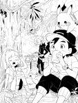 1girl 2boys alolan_vulpix baseball_cap djmn_c drinking gladio_(pokemon) greyscale hat lillie_(pokemon) monochrome multiple_boys pikachu pokemon pokemon_(creature) pokemon_(game) pokemon_sm pokemon_sm_(anime) rotom_dex satoshi_(pokemon) sitting z-ring