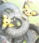 day hairy_pichu handheld_game_console highres kidura looking_up meta nintendo_ds no_humans outdoors pichu playing_games pokemon pokemon_(creature) pokemon_(game) pokemon_gsc product_placement tire traditional_media
