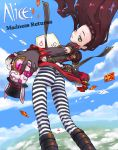 1girl alice:_madness_returns alice_(wonderland) alternate_costume ass boots brown_hair card clouds day falling_card foreshortening gloves green_eyes hands highres nakamura_tetsuya one_eye_closed pantyhose playing_card sky solo striped striped_legwear